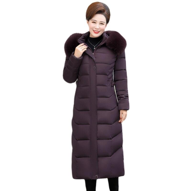 2019 Down Coat Female Winter Long Down Jacket For Women Large Size Hooded Fur Collar 3XL 4XL 5XL Plus Size Parka