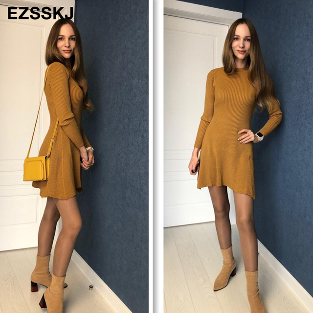 smooth sexy mid thigh long sleeve dress 2