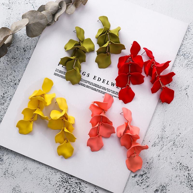 2019 New Arrival Color Flowers Tassel Earrings Fashion Sweet Sexy Rose Petal Long Dangle Earrings Korean Jewelry Women Party
