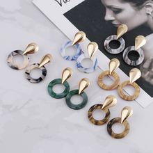 Fashion Geometric Acrylic Drop Earrings For Women Vintage Resin Oval Round Dangle Earring 2020 Brincos Wedding Jewelry Gift hocole new fashion acrylic round drop earrings for women fashion jewelry leopard print resin geometric hanging dangle earring za