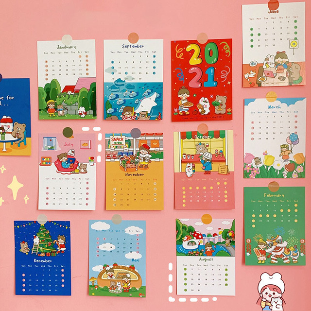 12 Sheets Kawaii Girl Rabbit 2021 Calendar Postcard Cartoon Monthly Cards Photo Props Office Planner Memo Cards Wall Decoration