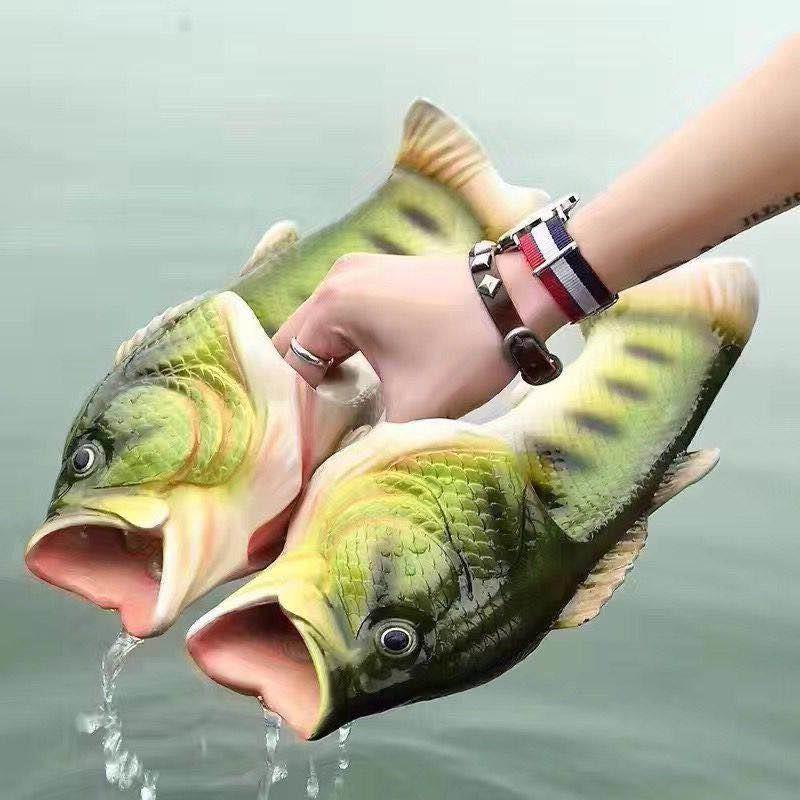 Funny Slippers Men Summer Beach Shoes Unisex Family Shoes Cute Fish Slippers Boys Soft PVC Fashion Shoes