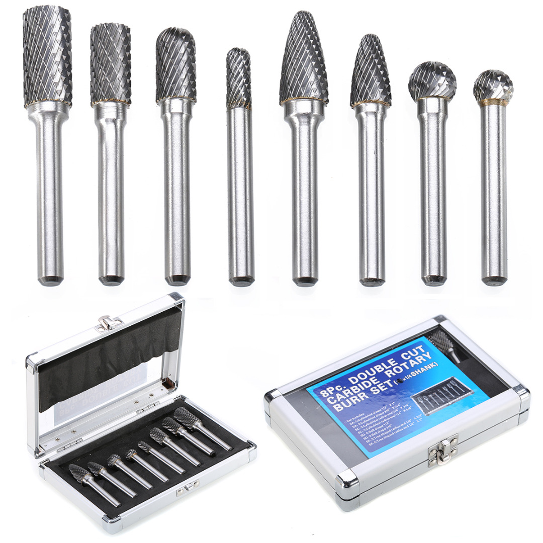 Mayitr 8Pcs 1/4'' Shank Tungsten Carbide Burrs Set Carbide Rotary Burrs Electric Drill Bits Set With Case