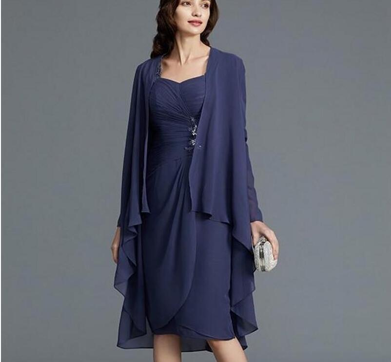 Robe mère de mariée en mousseline de soie sur mesure avec plis à col carré longueur genoux robe de soirée de bal avec veste 2020 pas cher