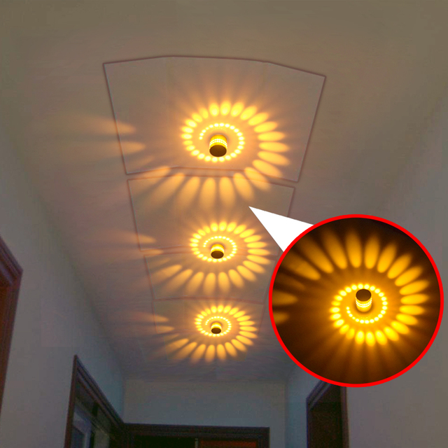 Cylindrical 3W 85-265V LED Wall Light Living Room Bar Bedroom KTV LED Spiral Wall Light Kitchen Cafe  LED Wall Light 1