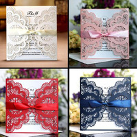 100pcs Hollow Invitiation Card Wedding Valentine's Day New Year Greeting Card Postcard Birthday Gift Message Cards Party Supply