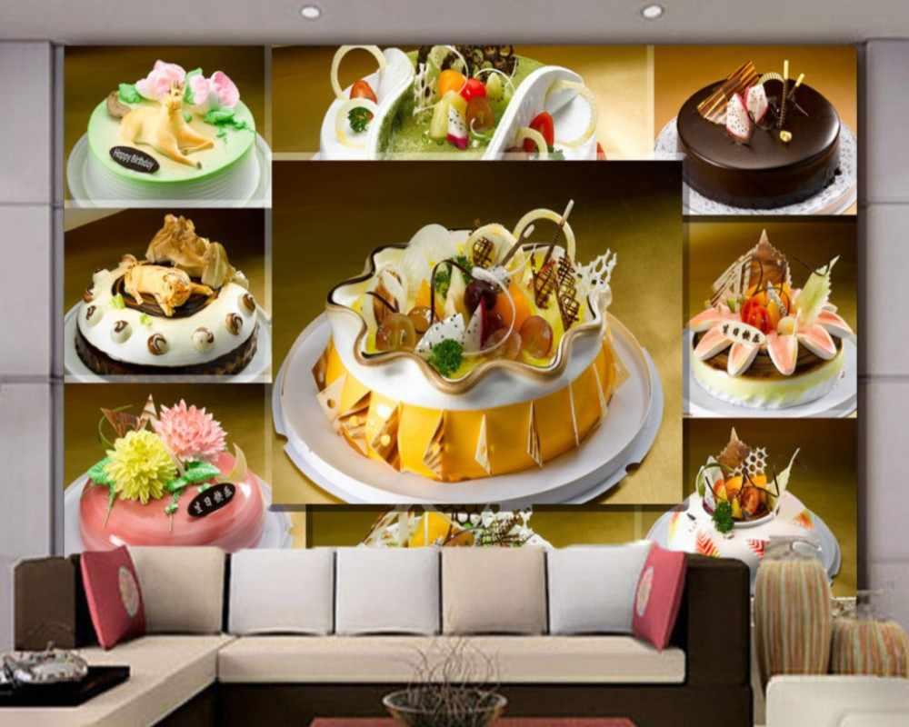 Dropship Gratis Verzending 3D Foto Muurschildering Keuken Custom Cake Winkel Muurschildering Kleurrijke Cake Behang Bakkerij Decoratie Achtergrond Muur