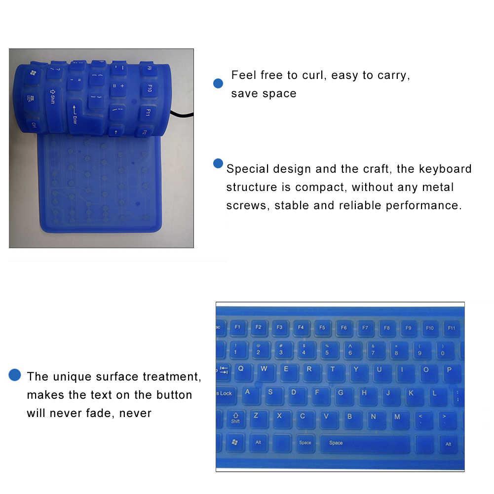 New Lipat Silicone Keyboard Kabel USB Silikon Pelindung Kulit Lembut Tahan Air Roll Up Silica Gel Keyboard untuk Laptop Notebook
