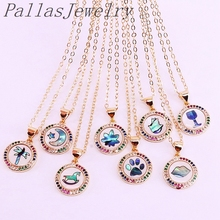 12Pcs Wholesale Gold Color Multi Rainbow CZ Micro Pave Abalone Shell Charms Fashion Jewelry Pendant Necklaces