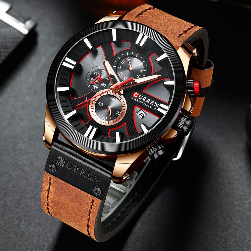 Hc416e54ffaff47c28afeb7d18b6433d7C CURREN Brand Luxury Men Watch Leather Quartz Clock Fashion Chronograph Wristwatch Male Sport Military 8346 Relogio Masculino