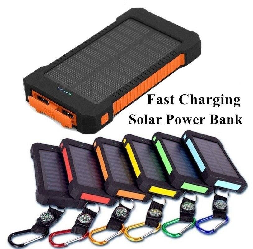 Banco de energía Solar 30000mah impermeable para Iphone Xiaomi todo batería externa rápida cargador portátil Solar Poverbank