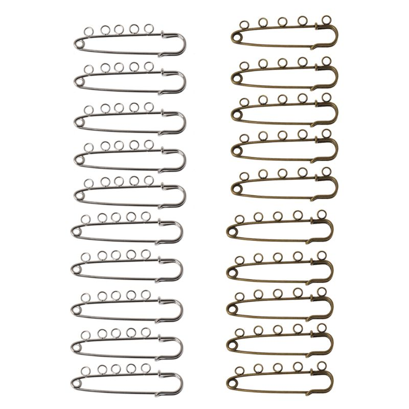 <font><b>10</b></font> Pcs Silver Bronze DIY Brooches <font><b>5</b></font> Holes Safety Pins Brooches Jewelry Findings image