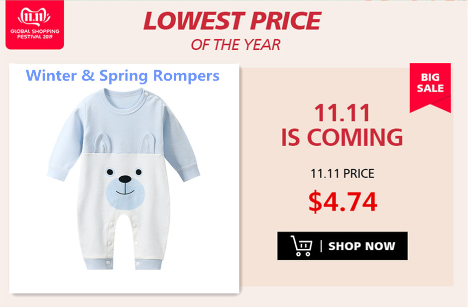 Hc417325654844c0fabfb0eba3ad29b7eX Baby clothing Boy girls Clothes Cotton Newborn toddler rompers cute Infant new born winter clothing