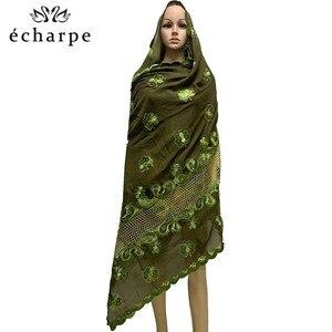 Image 3 - 新アフリカイスラム教徒刺繍女性綿スカーフ経済的な、綿ビッグサイズ女性スカーフショール EC200