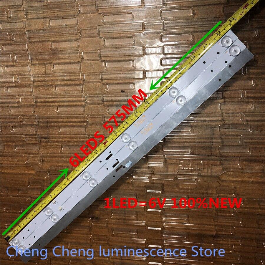 60 peças/lote polegada tira retroiluminação led para 32 LE-8822A SJ.HL.D3200601-2835BS-F 6v 6 lâmpada 575 MILÍMETROS 100% NOVO
