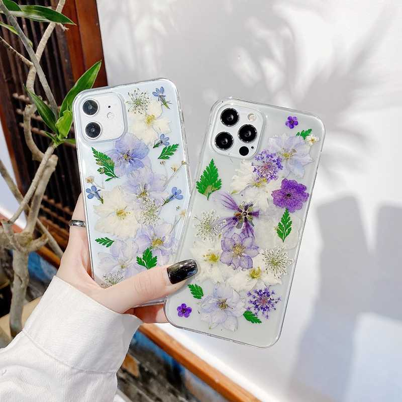 Real flower case cover gift Sparkle Lemon iphone X XS XR Max 8plus 11 pro phone cases Pressed Flower iphone case Fruit Clear iPhone case