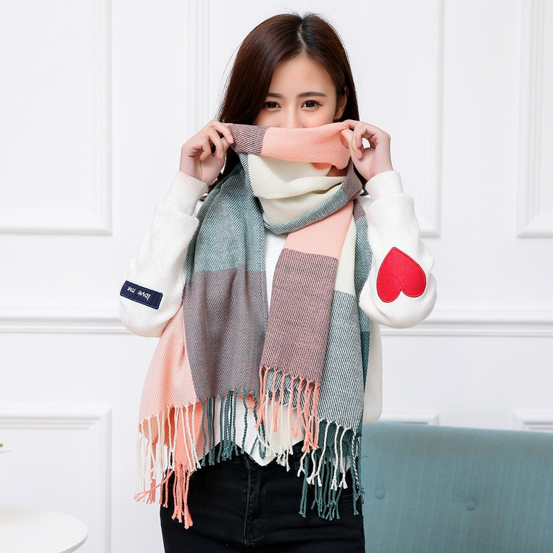 2019 Korean-style Autumn & Winter Warm Plaid Scarf Women's Faux Cashmere Tassels Students New Style Shawl Scarf Manufacturers
