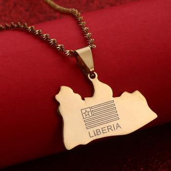 Middle Size LIBERIA Map Flag Pendant Necklaces Liberians Middle East Jewellery image