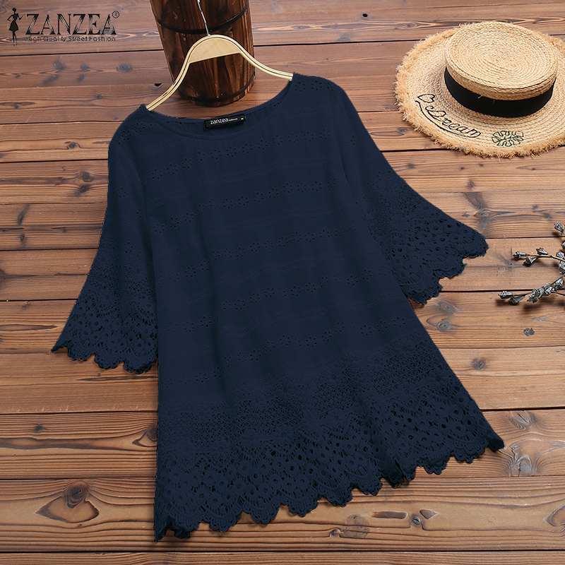 ZANZEA Women Cotton White Blouse 2020 Summer Plus Size Ladies Hollow Out Embroidery Half Sleeve Shirt Work Tunic Blusas Tops 5XL