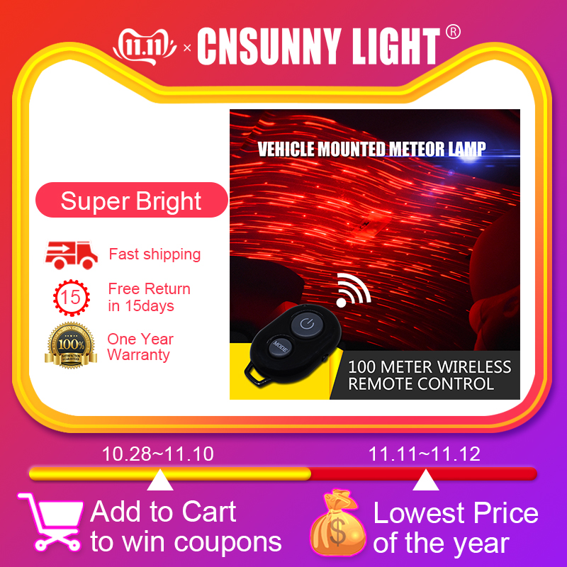 CNSUNNYLIGHT USB LED Car Atmosphere Ambient Ceiling Light DJ RGB Colorful Music Sound Lamp Christmas Interior Decorative Light