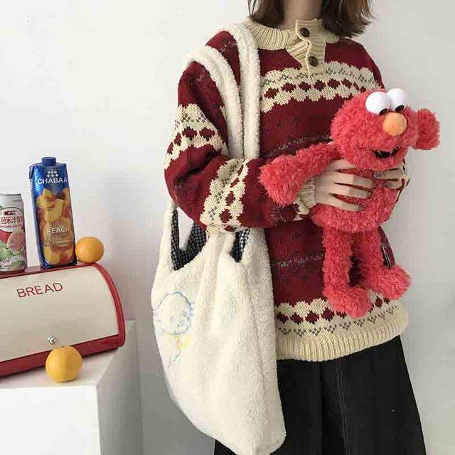 Women's Kawaii Lamb Fabric Shoulder Bag Handbag Tote Large Capacity Embroidery Shopper Bags Cute Bag for Girls New Design 2