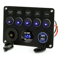 Yacht Cigarette Lighter Socket Charger Dual USB Switch Panel 12V Power Car LED Voltmeter