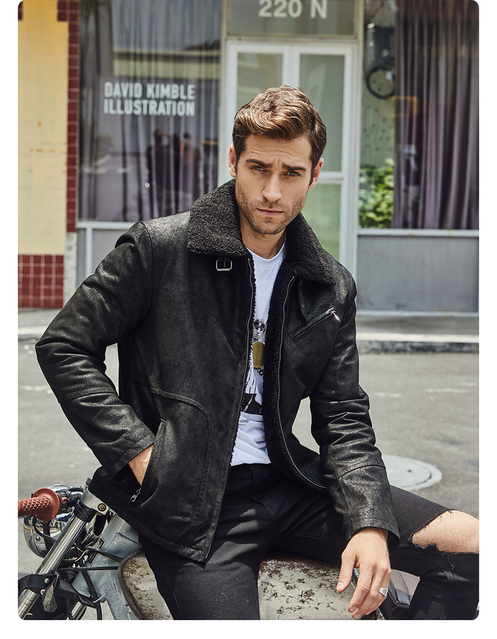 Hc4179bcfbb5642aeb79c215ea2bc79bfH FLAVOR New Men's Genuine Leather Motorcycle Jacket Pigskin with Faux Shearling Real Leather Jacket Bomber Coat Men