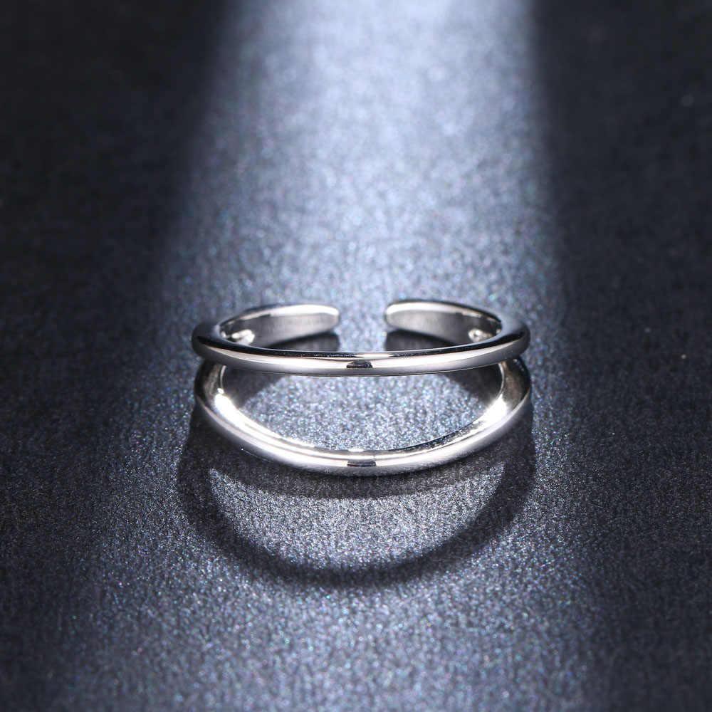 HONGHONG ใหม่ Minimalist Rose Gold แหวน MULTI LAYER เปิดแหวนของขวัญ Knuckle เครื่องประดับ