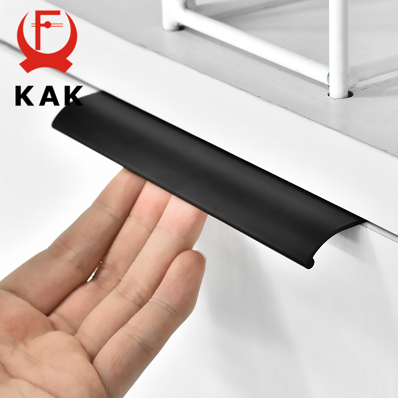KAK Black Silver Hidden Cabinet Handles Zinc Alloy Kitchen Cupboard Pulls Drawer Knobs Bedroom Door Furniture Handle Hardware