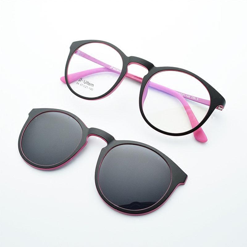 Polarizované ultralehké brýle Rám odpovídající magnet Polarizovaný klip Kulaté brýle pro ženy Brýle krátkozrakých brýlí jkk84