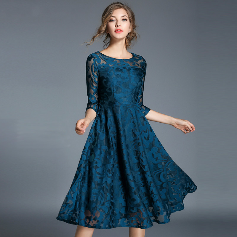 Plus Size Lace Dress Work Casual Fashion O-neck Sexy Hollow Out Black Blue Red Long Dresses Women A-line Vintage Vestidos