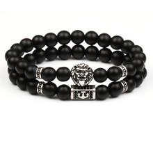 2Pcs/Set New Crown Skull Bracelet Men Women Set Classic Vintage Male Anchor Beads Stone Charm Bracelets For Couples Jewelry Gift