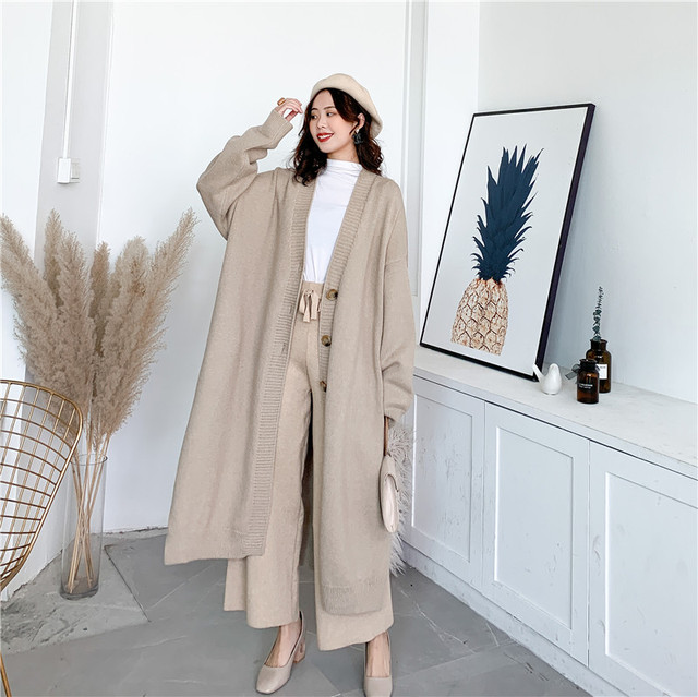 [EAM] Gray Big Size Long Knitting Cardigan Sweater Loose Fit V-Neck Long Sleeve Women New Fashion Tide Autumn Winter 2021 Y204 2