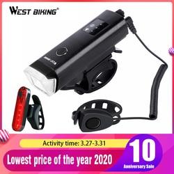 Luz frontal de bicicleta WEST BIKING, recargable por USB, impermeable, linterna LED para bicicleta, Faro de ciclismo, linterna de seguridad para escalada, lámparas