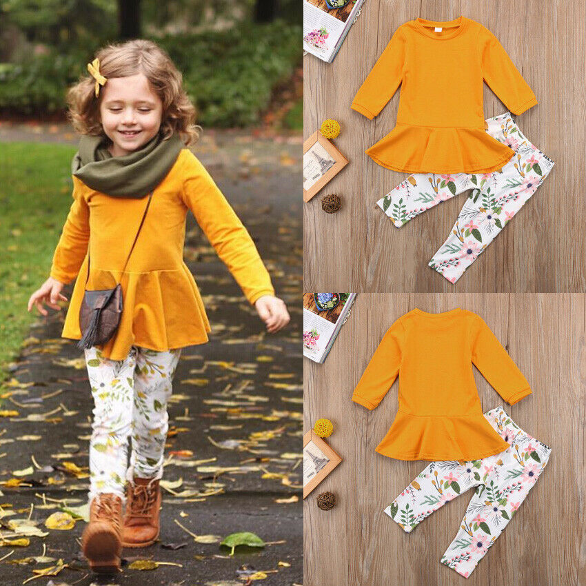 Top-Dress Long-Sleeve Solid-Shirt Toddler Baby-Girl Kids 2pcs 2-7-Years title=