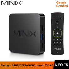 In Stock MINIX New NEO T5 TV BOX Amlogic S905X2 2G 16G Chromecast 4K Ultra HD Google Certified Android TV 9.0 Pie Smart TV BOX rkm mk22 amlogic s912 2g 16g android 6 0 smart tv box tronsmart tsm01
