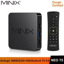 Caixa de tv minix neo t5, em estoque, amlogic s905x2 2g 16g chromecast 4k ultra hd google caixa de tv inteligente 9.0 pie certificada, android tv