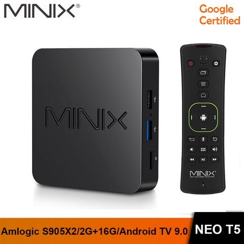 Caixa de tv em Estoque Minix Nova Amlogic 2g 16g Chromecast 4 k Ultra hd Google Certificado Android tv 9.0 Torta Inteligente Neo t5 S905x2