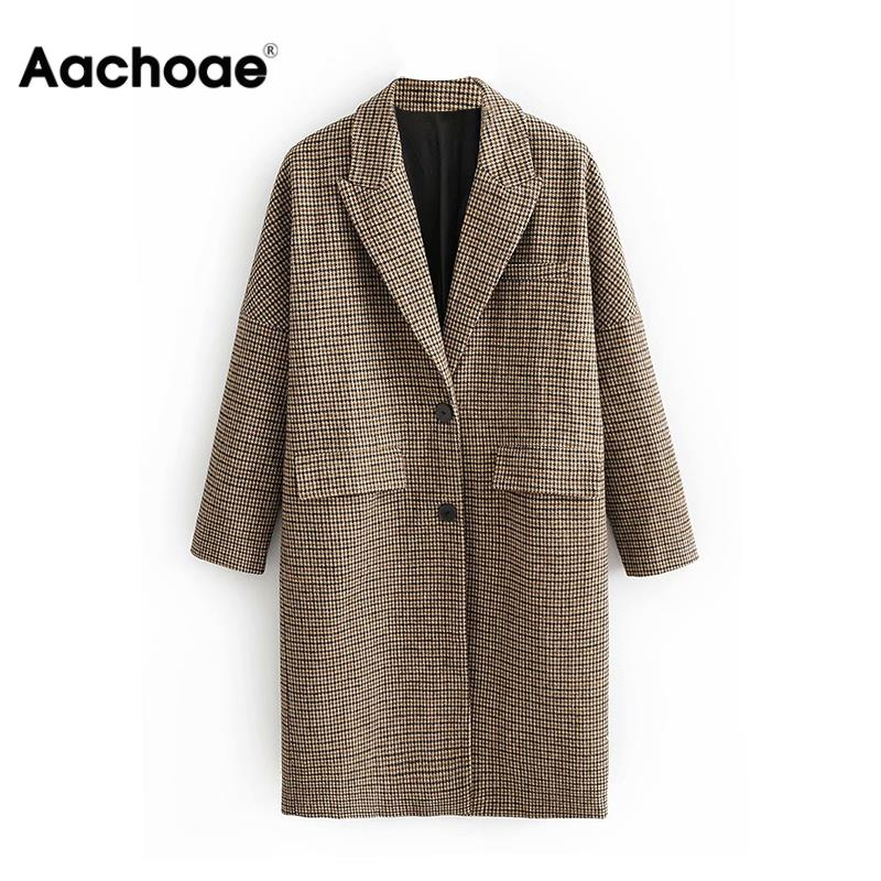 Fashion Winter Plaid Long Coats Women Single Breasted Casual Jackets For Ladies Vintage Elegant Long Sleeve Pockets Coat
