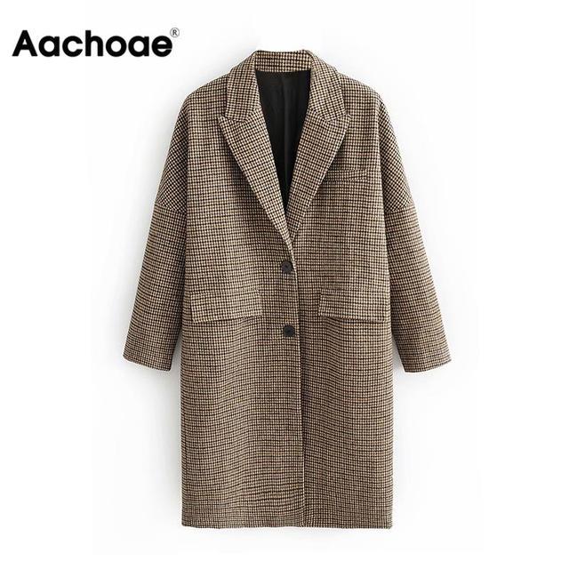 Fashion Winter Plaid Long Coats Women Single Breasted Casual Jackets For Ladies Vintage Elegant Lon