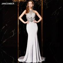 J18560 jancember seksi mermaid abiye 2020 halter boyun kolsuz boncuk dantel gümüş abiye uzun vestido mujer