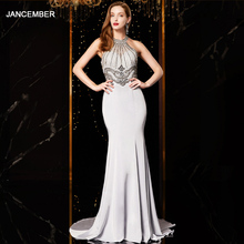 J18560 jancember sexy mermaid evening dress 2020 halter neck sleeveless beading lace silver evening dresses long vestido mujer