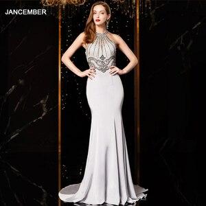 Image 1 - J18560 jancember sexy mermaid evening dress 2020 halter neck sleeveless beading lace silver evening dresses long vestido mujer