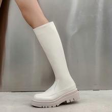Женские сапоги на массивном каблуке, бежевые или черные однотонные сапоги до колена в стиле панк, обувь для верховой езды, большой размер 42, ...