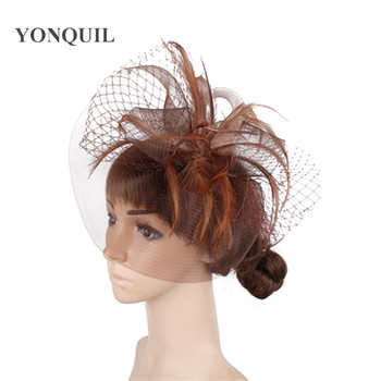 Tulle Wedding Headwear Women Tulle Party Fasinator Acessories Mesh New Chic Headdress Ladies Formal Cocktail Fedora Accessories image