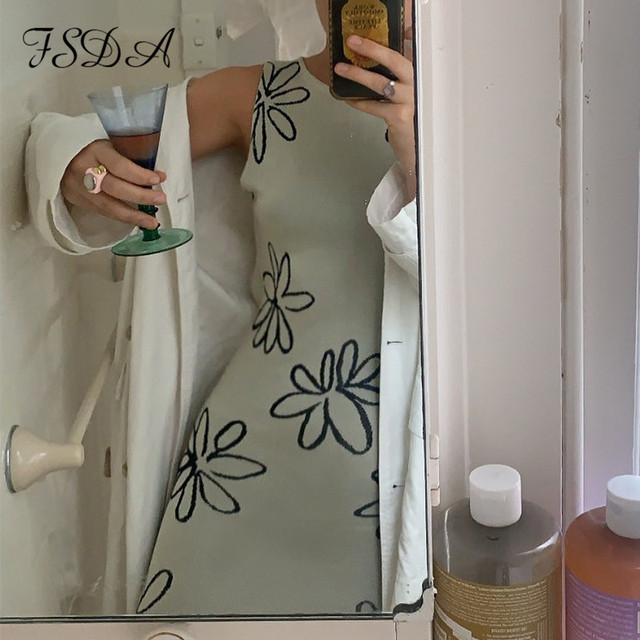 FSDA 2021 O Neck Knitted Bodycon Dress Women Summer Split Backless Sleeveless Y2K Beach Sexy Midi Party Dresses 3