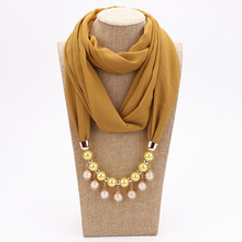 Pearl Chiffon Necklace Scarf Female Spring Autumn and Winter Fashion Neck Summer Sunscreen pendant scarf