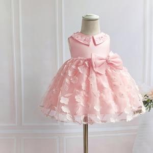 Vestido de niña de encaje Floral rosa para princesa bautismo Infante 1 año cumpleaños vestidos de fiesta de boda Vestido de bautizo 0- 2 años