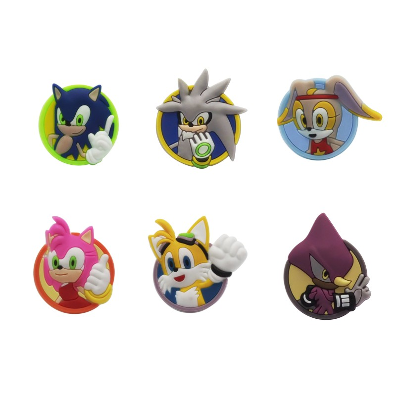 1pcs Sonic The Hedgehog Cartoon Shoe Charms PVC Shoes Accessories Croc Decoration Jibz Ornaments Shoe Buckles Kids Friends Gift