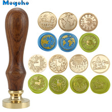 Mogoko 25mm/30mm Wax Seal Stamp Retro Wood Classic Sealing Wax Seal Stamps Envelope Cards Bottles Decor Antique Stamp Earth Map